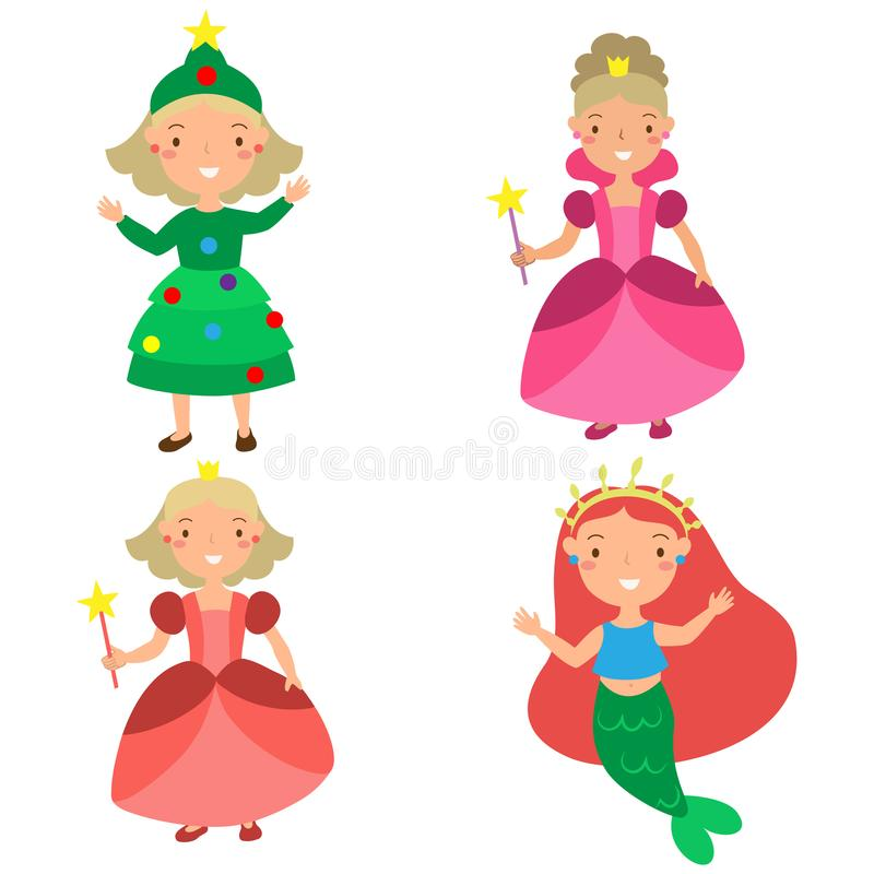 Set of girls in Christmas costumes cute veils. Set of girls in New Year costumes cute veil princesses and mermaid stock illustration