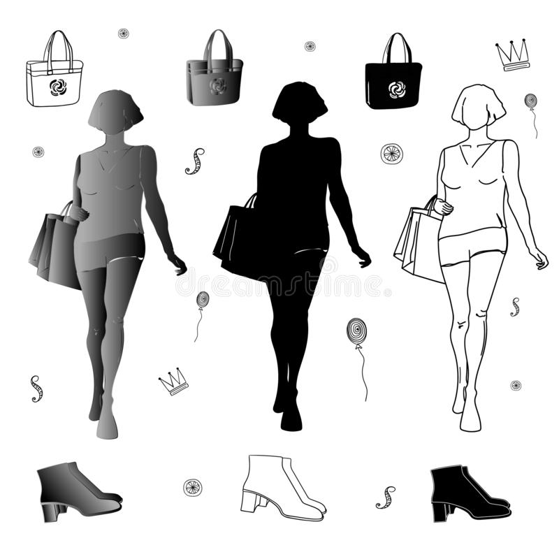 Set of girls silhouettes with accessories royalty free illustration