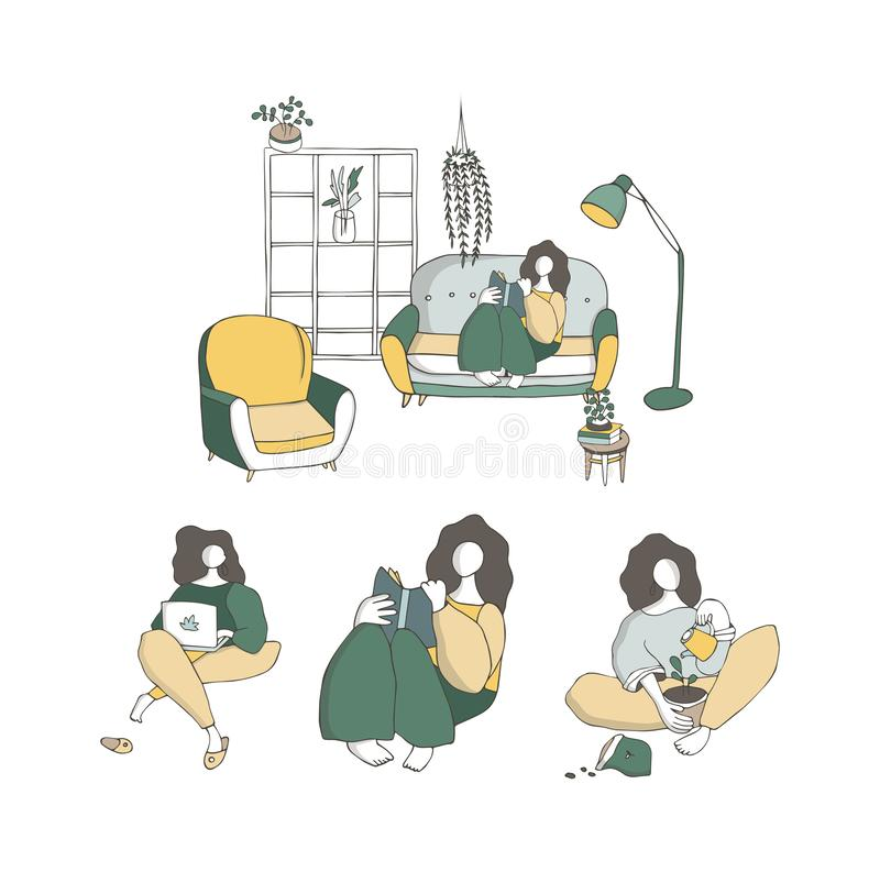 Set girls sitting cross-legged in her room or apartment, practicing yoga. Young woman with crossed legs, read book, meditating at royalty free illustration