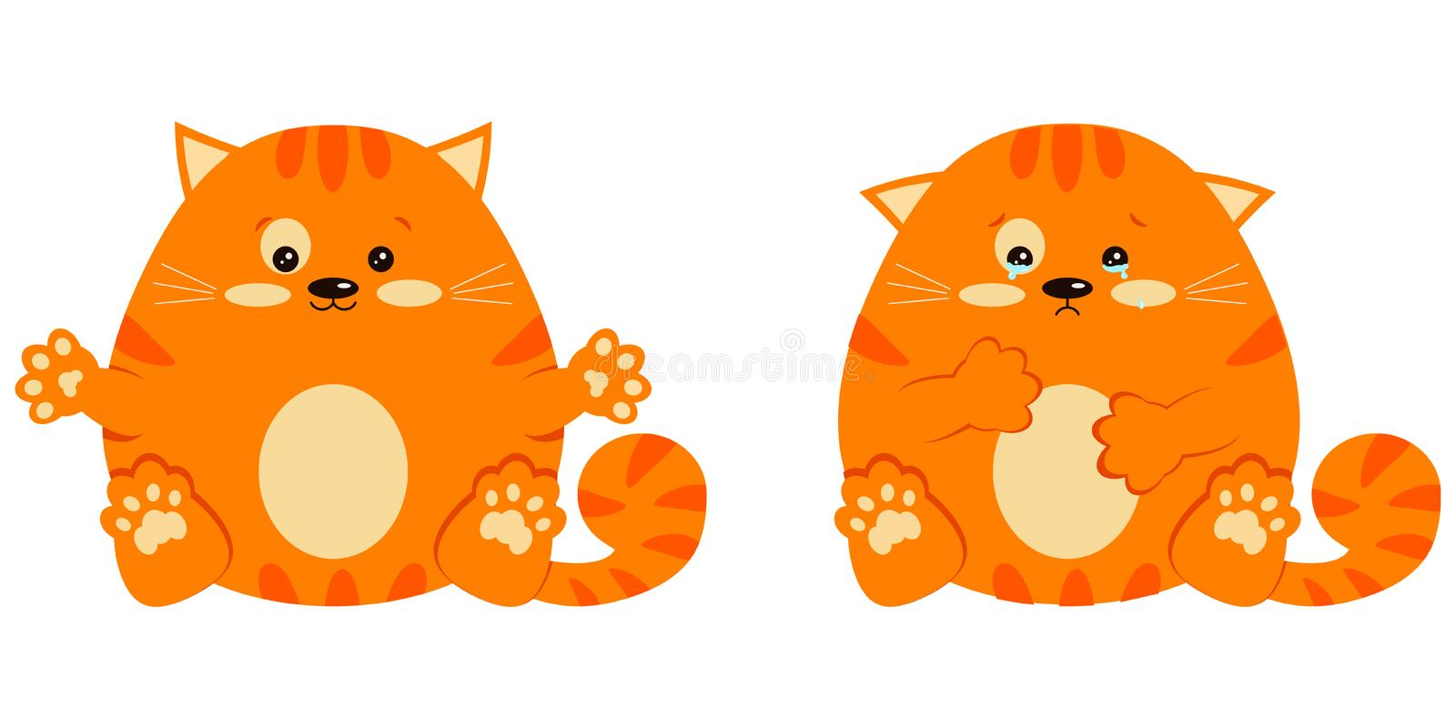 Set of glad smiling and sad crying with tears sweet and cute fat red little ginger striped cat in sitting pose. Flat design cartoon style vector characters vector illustration