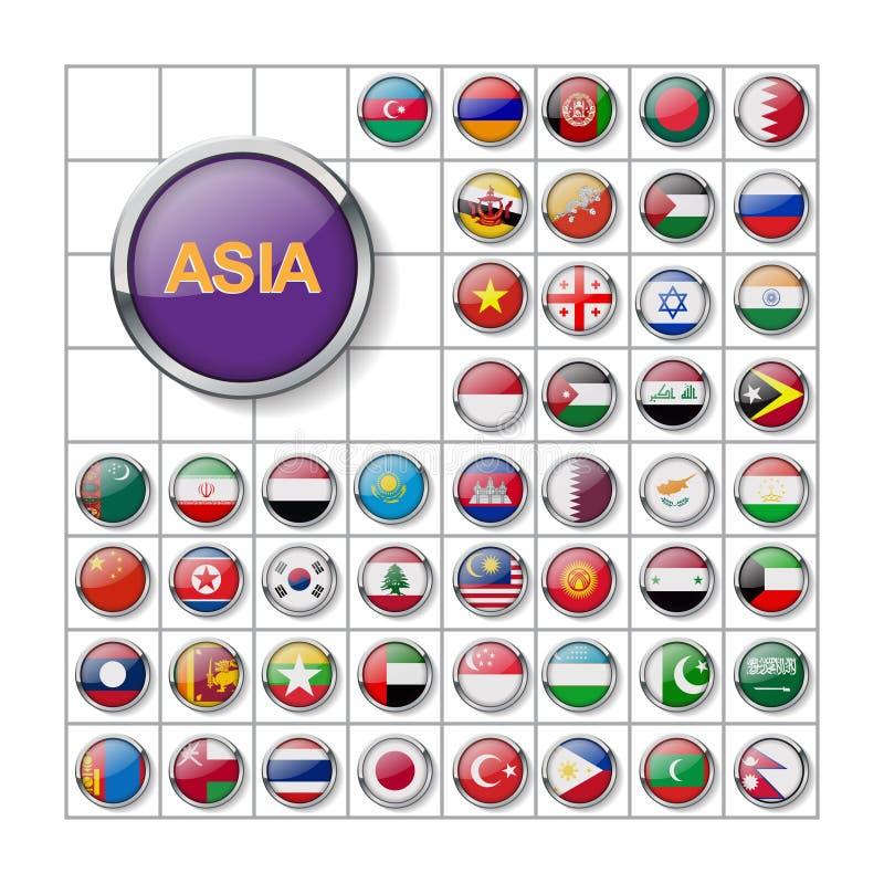 Set glansowane guzik flagi asia wizerunek 10 eps ilustracja wektor