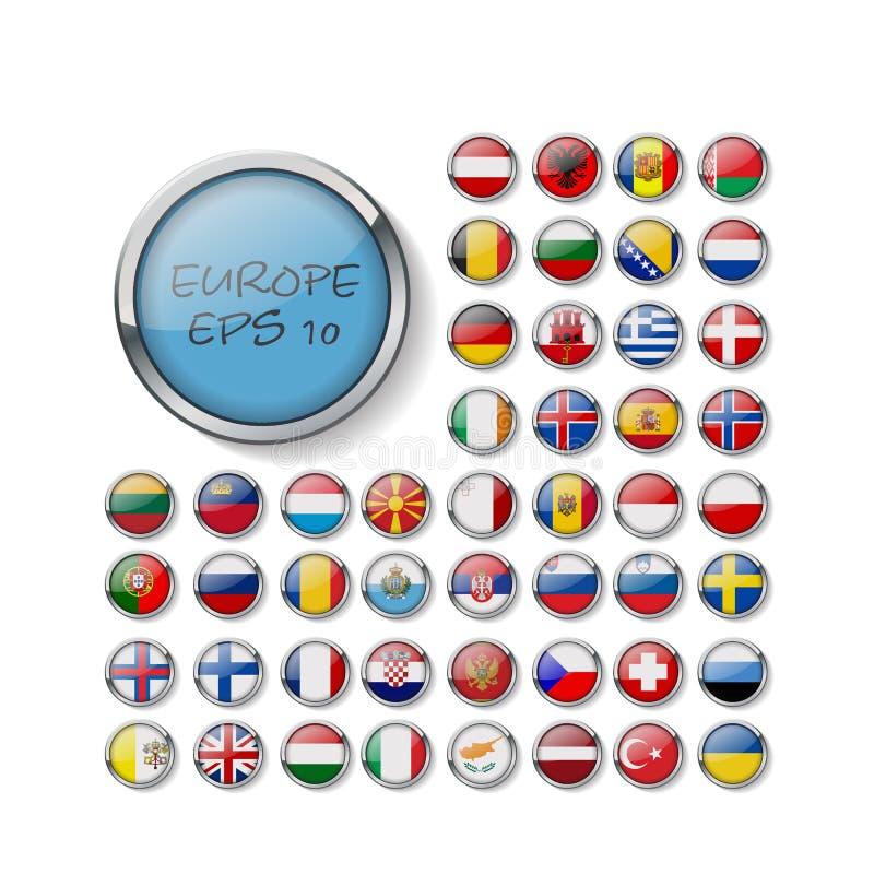 Set glansowane guzik flagi europejczyk wizerunek 10 eps royalty ilustracja