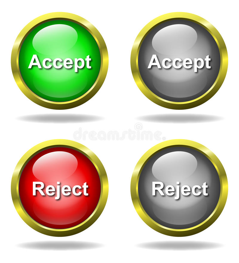 Download Set Of Glass Accept - Reject Buttons Stock Vector - Image: 12918806