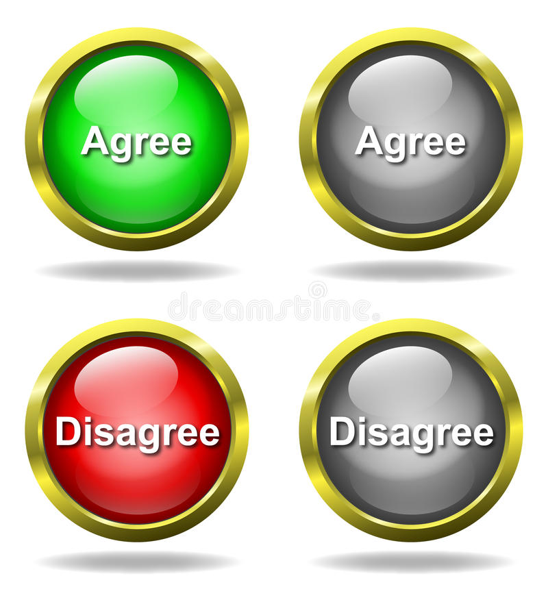Set of glass Agree - Disagree buttons royalty free illustration