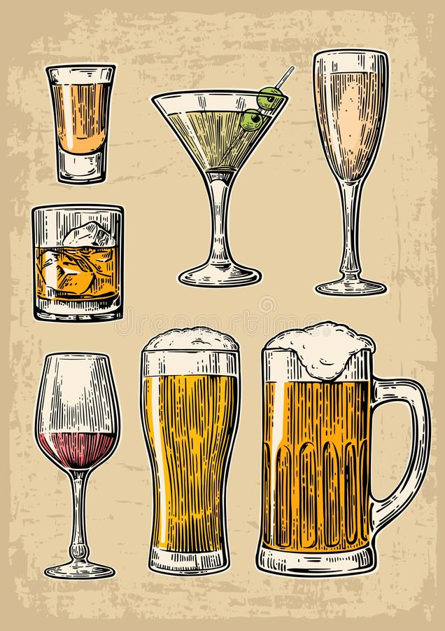 Set glass beer, whiskey, wine, tequila, cognac, champagne, cocktails. Vector engraved illustration on beige vintage backg royalty free illustration