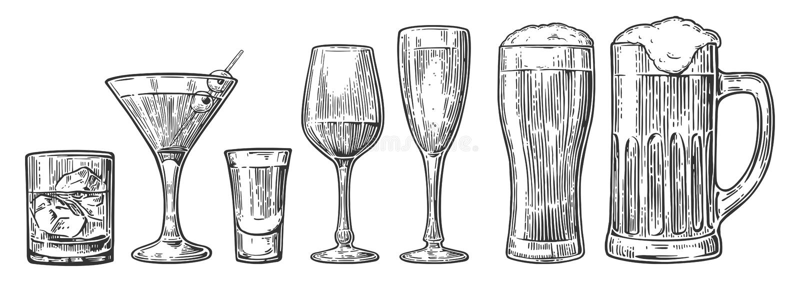 Set glass beer, whiskey, wine, tequila, cognac, champagne, cocktails Vector engraved vintage illustration isolated on white stock illustration
