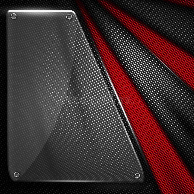 Set 8. glass on black and red carbon fiber. vector illustration