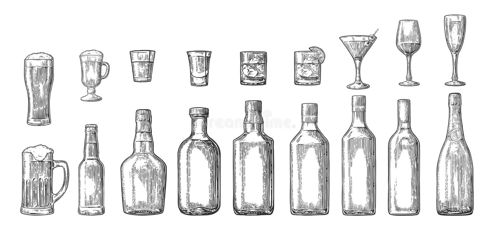 Set glass and bottle beer, whiskey, wine, gin, rum, tequila, cocktail vector illustration