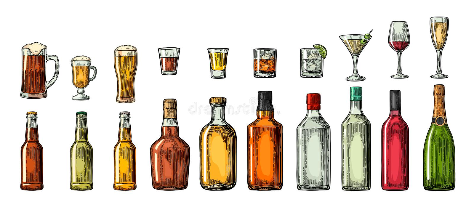 Set glass and bottle beer, whiskey, wine, gin, rum, tequila, cognac, champagne, cocktail, grog. royalty free illustration