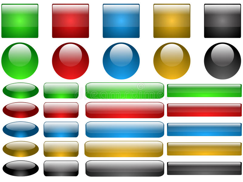 Download Set of glass buttons stock vector. Image of design, blue - 13329183