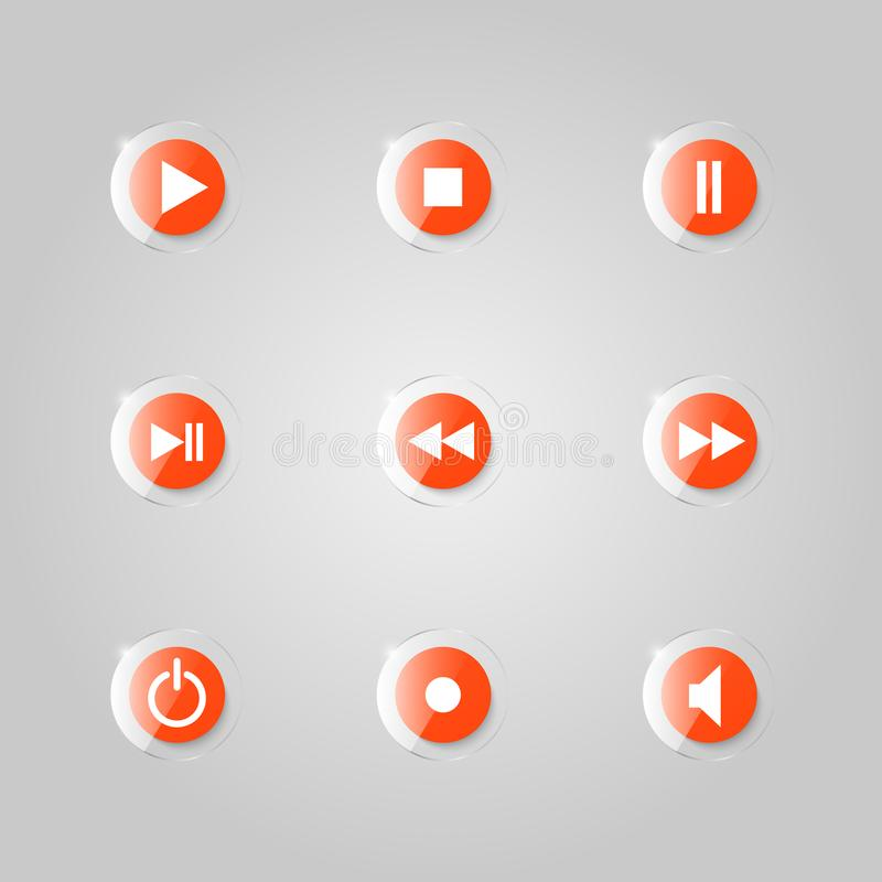 A set of glass buttons of a media player. royalty free illustration