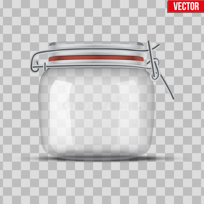 Set of Glass Jars for canning. And preserving. With closed cover. Lid is closed. Vector Illustration on transparent background royalty free illustration