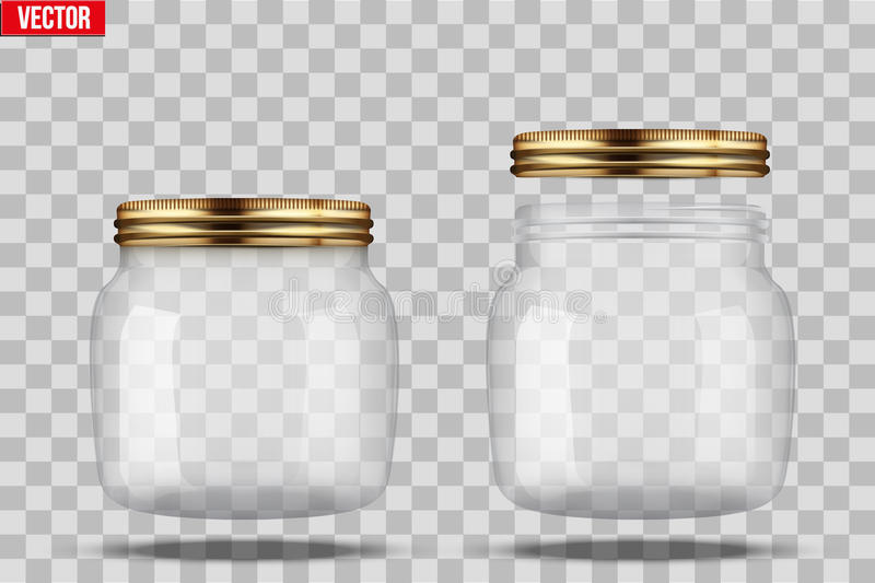 Set of Glass Jars for canning. And preserving. With closed and open cover. Vector Illustration on transparent background royalty free illustration