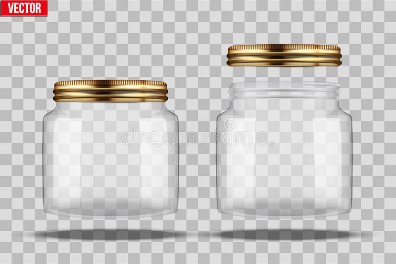 Set of Glass Jars for canning. And preserving. Square shape with right angles. With closed and open cover. Vector Illustration isolated on transparent vector illustration