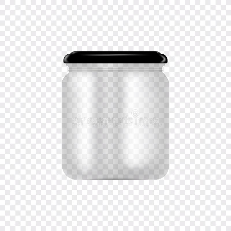 Set of Glass Jars for canning and preserving. Vector Illustration on transparent background.Empty transparent glass jar. With cap. Round Shape Glass Canister stock illustration