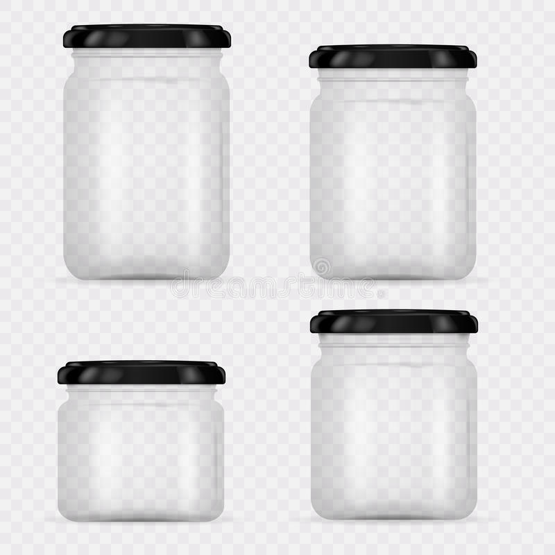 Set of Glass Jars for canning and preserving. Vector Illustration on transparent background.Empty transparent glass jar with cap. Round Shape Glass Canister royalty free illustration