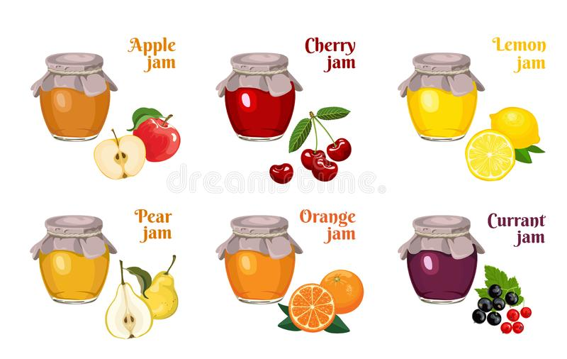 Set of glass jars of jam isolated on white background. Apple, cherry, lemon, orange, currant, pear. Vector illustration of ho. Memade fruit and berry fruit stock illustration