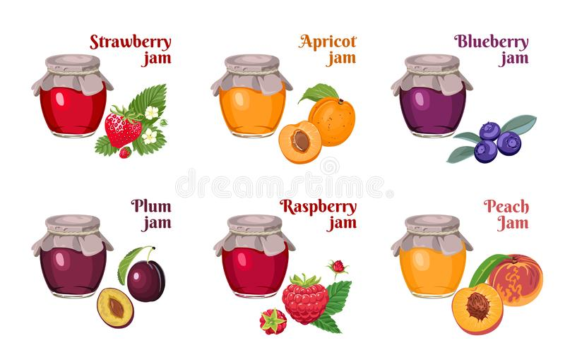 Set of glass jars of jam isolated on white background. Strawberry, apricot, blueberry, raspberry, plum, peach. Vector illustration. Of homemade fruit and berry royalty free illustration