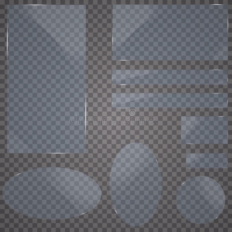 Set of glass plates. Vector glass banners on a transparent background.transparency.for publicity. vector illustration