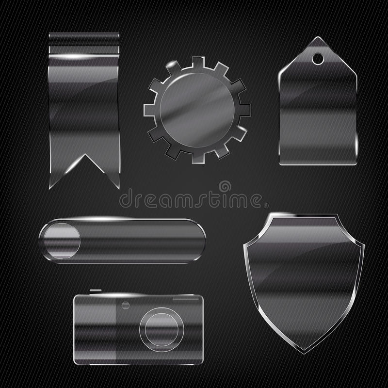 Set Of Glass Transparent Icons Stock Image