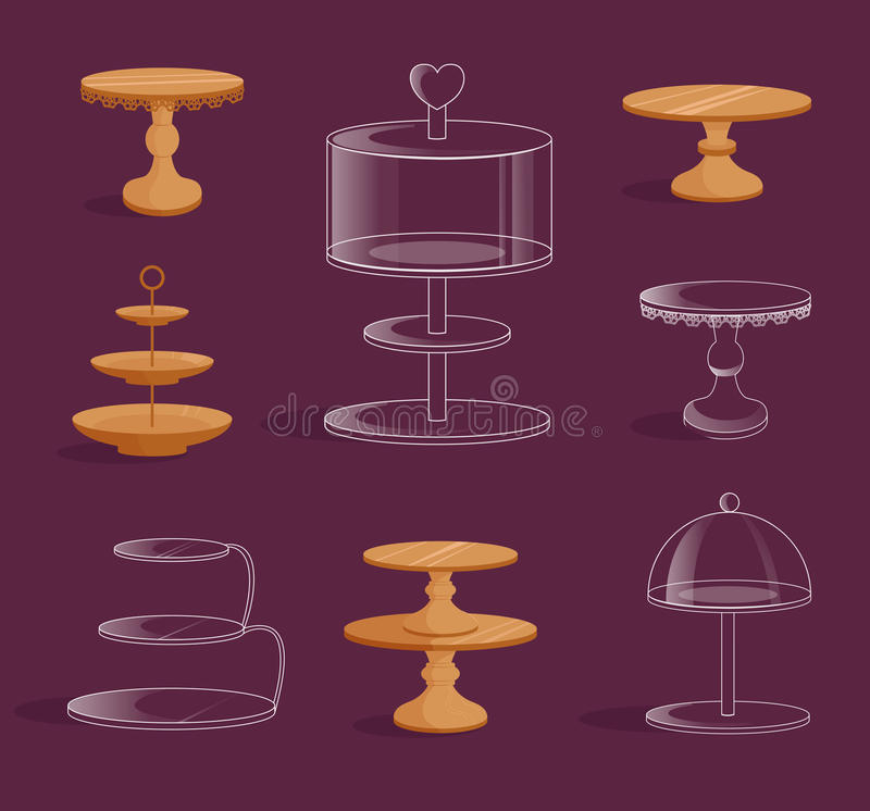 Set with glass and wooden stands for cakes. royalty free illustration