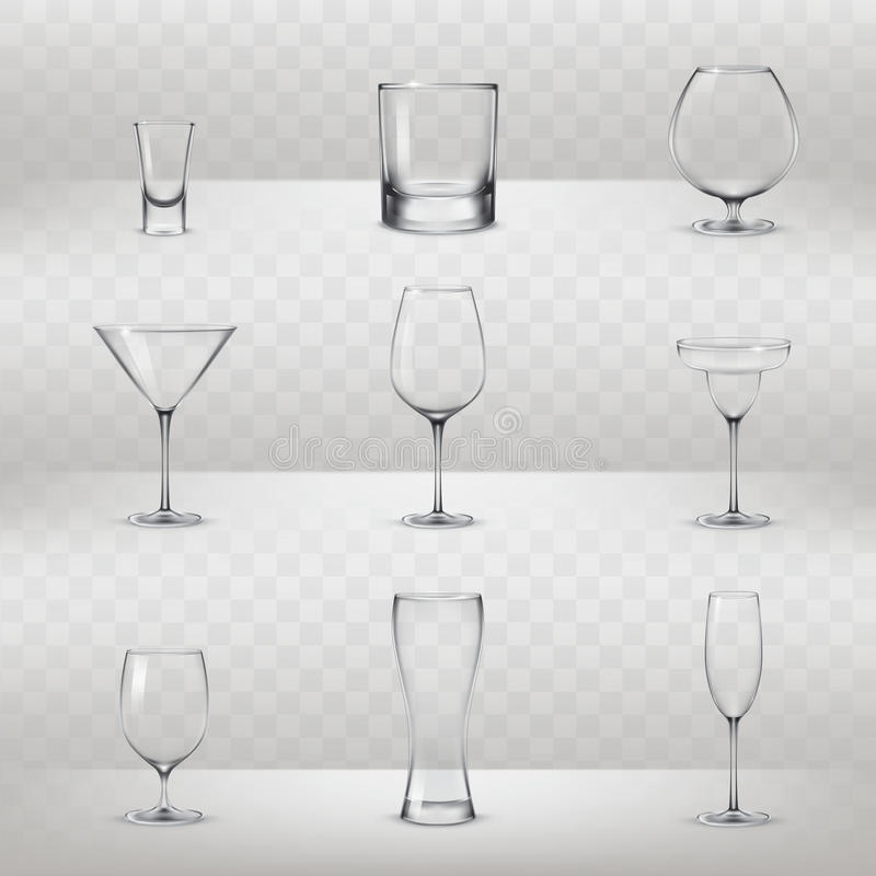 Set of glasses for alcohol and other drinks. Set of vector illustrations of glasses for alcohol and other drinks in a realistic style vector illustration