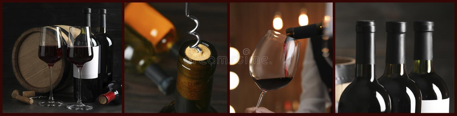 Glasses And Bottles Of Red Wine Banner Design Stock Image Image Of Beverage Different 182232441