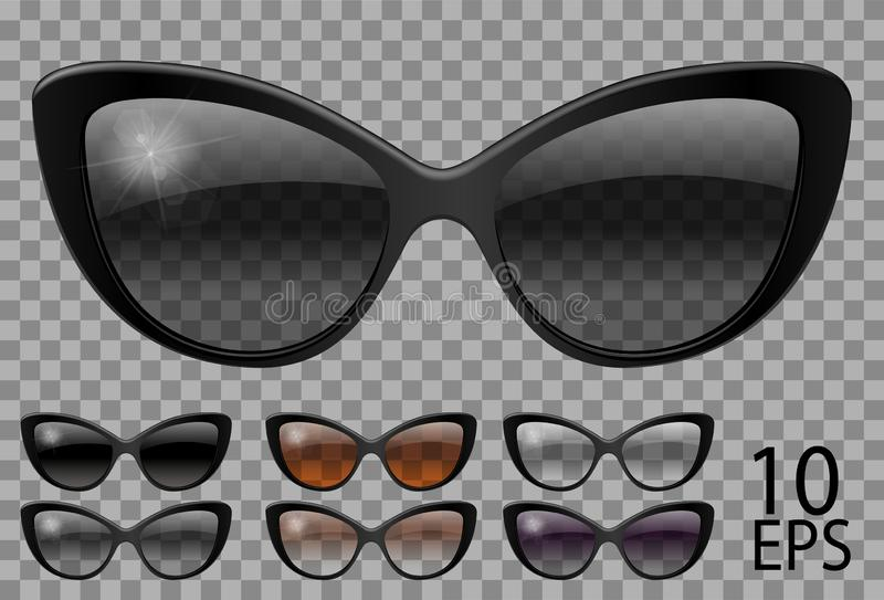 Set glasses.butterfly cat eye shape.transparent different color black  brown purple.sunglasses.3d graphics.unisex  women men. Set glasses.butterfly cat eye shape royalty free illustration