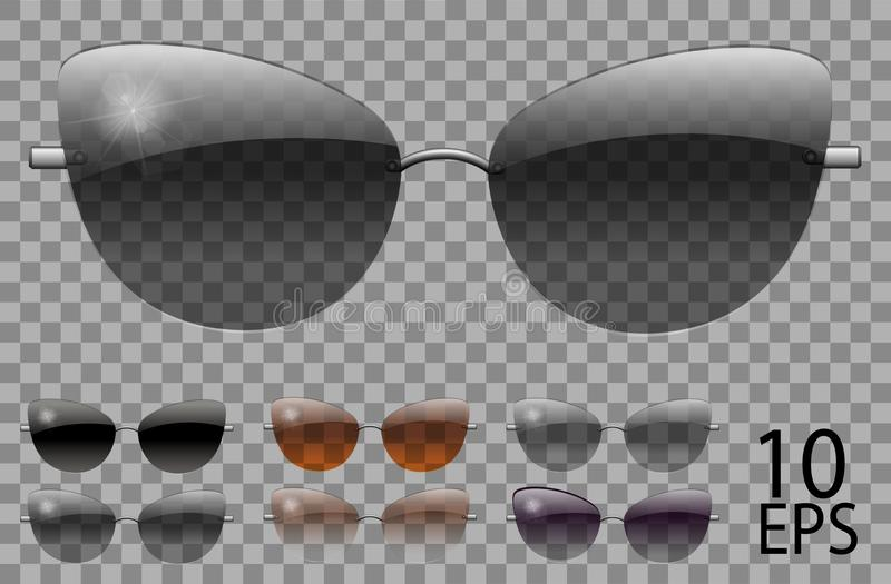 Set glasses.butterfly cat eye shape.transparent different color black  brown purple.sunglasses.3d graphics.unisex  women men. Set glasses.butterfly cat eye shape stock illustration