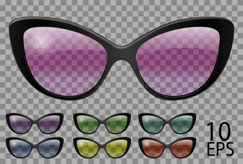 Set glasses.butterfly cat eye shape.transparent different color.sunglasses.3d graphics.pink blue purple yellow  red  green.unisex. Women  men royalty free illustration