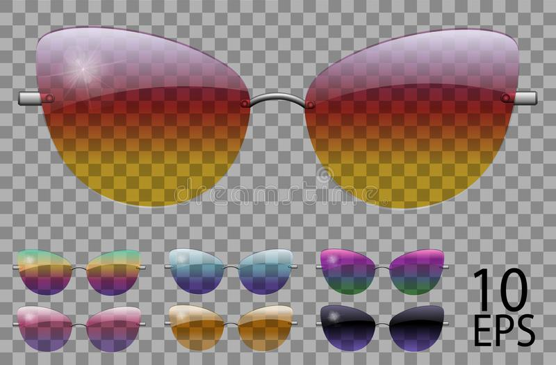 Set glasses.butterfly cat eye shape.transparent different color.sunglasses.3d graphics.rainbow chameleon  pink  blue  purple. Yellow  red  green  orange  black vector illustration