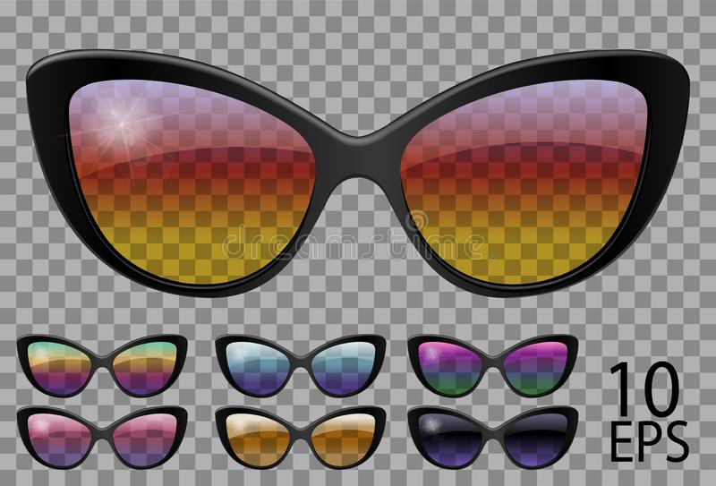 Set glasses.butterfly cat eye shape.transparent different color.sunglasses.3d graphics.rainbow chameleon  pink  blue  purple. Yellow  red  green  orange  black stock illustration