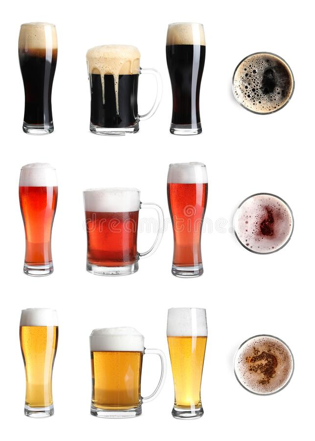 Set with glasses of cold tasty beer on background stock photos