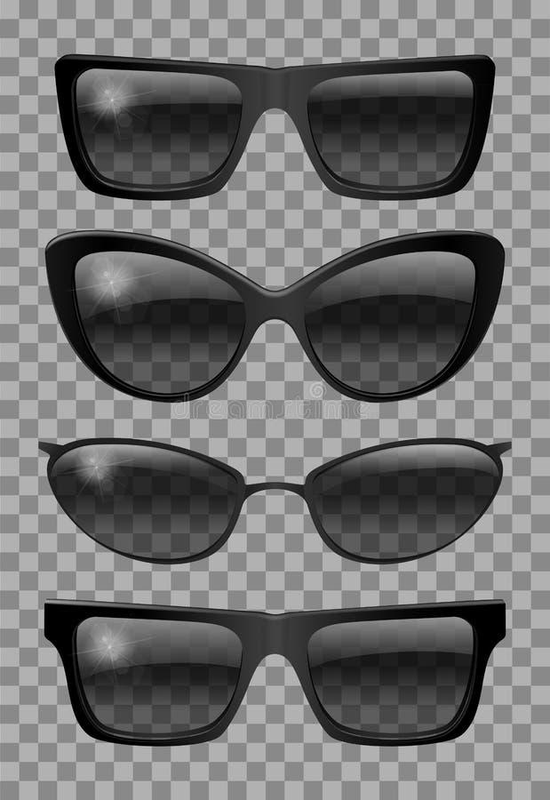 Set glasses different  shape.  futuristic   narrow   trapezoid butterfly cat eye.transparent  black color.sunglasses.3d graphics. stock photos