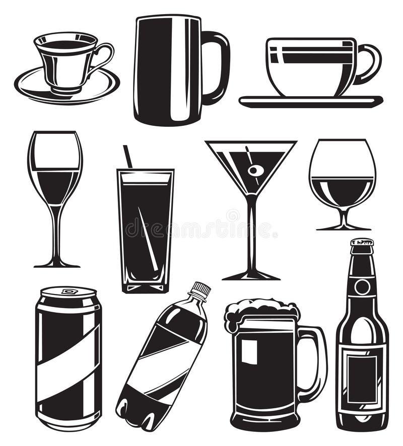 Set of glasses for drinks royalty free illustration