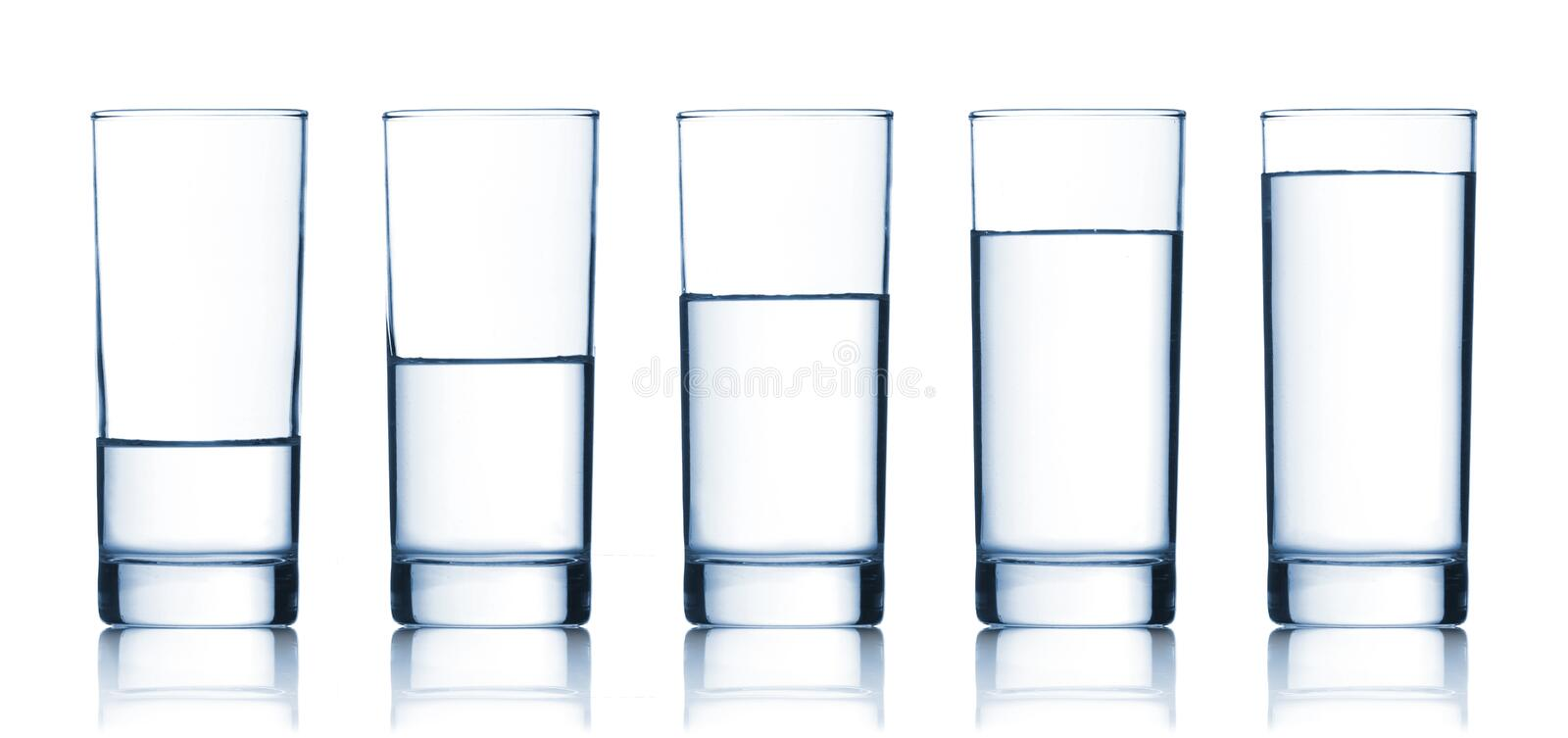 Set of glasses filled with water royalty free stock image