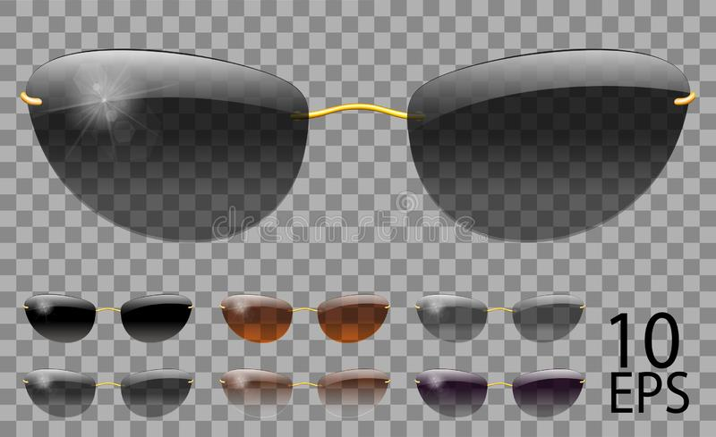 Set glasses. futuristic  narrow shape.transparent different color black  brown purple.sunglasses.3d graphics.unisex  women men. Set glasses. futuristic narrow stock illustration