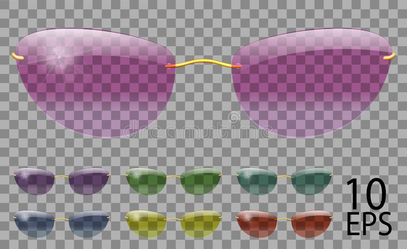 Set glasses. futuristic; narrow shape.transparent different color.sunglasses.3d graphics.pink blue purple yellow  red  green. Unisex women  men vector illustration