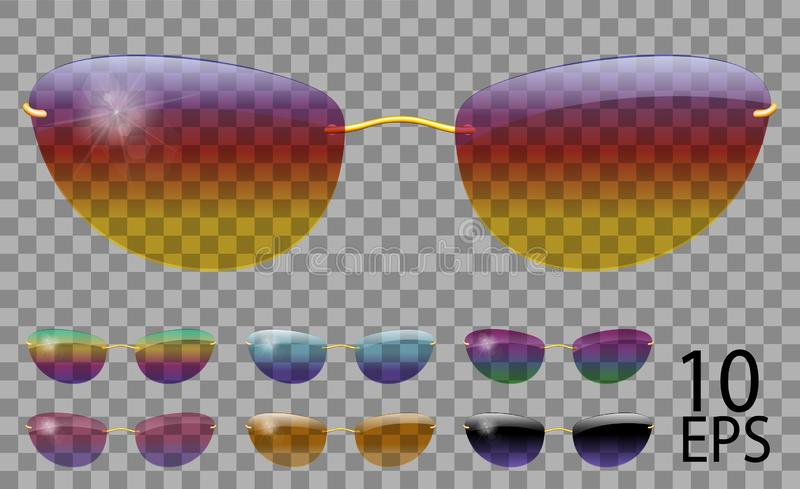 Set glasses. futuristic; narrow shape.transparent different color.sunglasses.3d graphics.rainbow chameleon  pink  blue  purple. Yellow  red  green  orange royalty free illustration