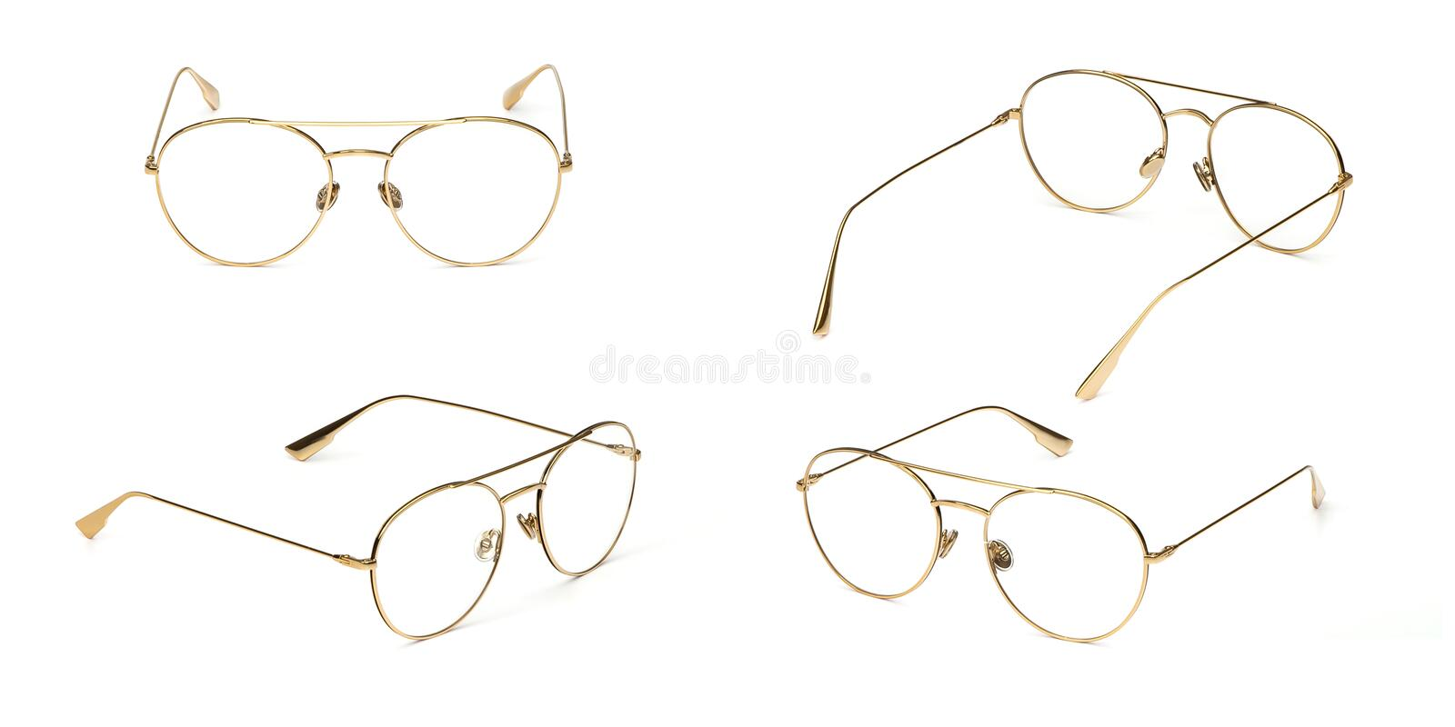 Set glasses gold metal material business style transparent isolated on white background. Collection fashion office eye glasses stock photos