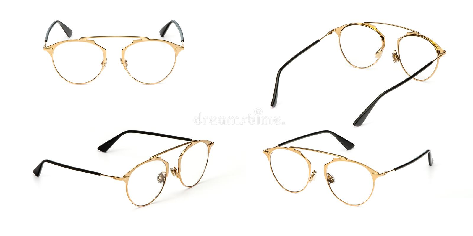 Set glasses gold metal material transparent isolated on white background. Collection fashion office eye glasses royalty free stock photography