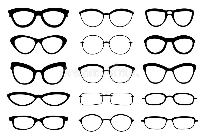 A set of glasses isolated. Vector glasses model icons. Sunglasses, glasses, isolated on white background. Silhouettes royalty free illustration