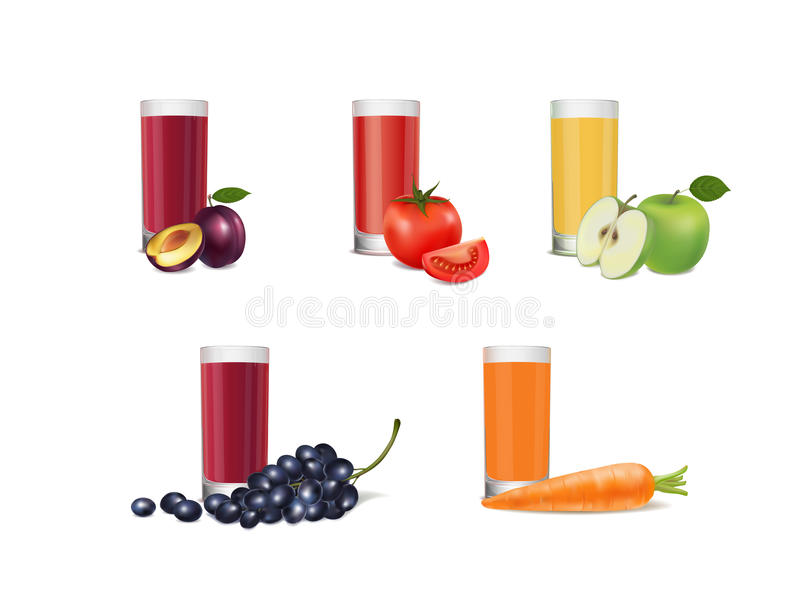 Set of glasses with juice on white background vector illustration