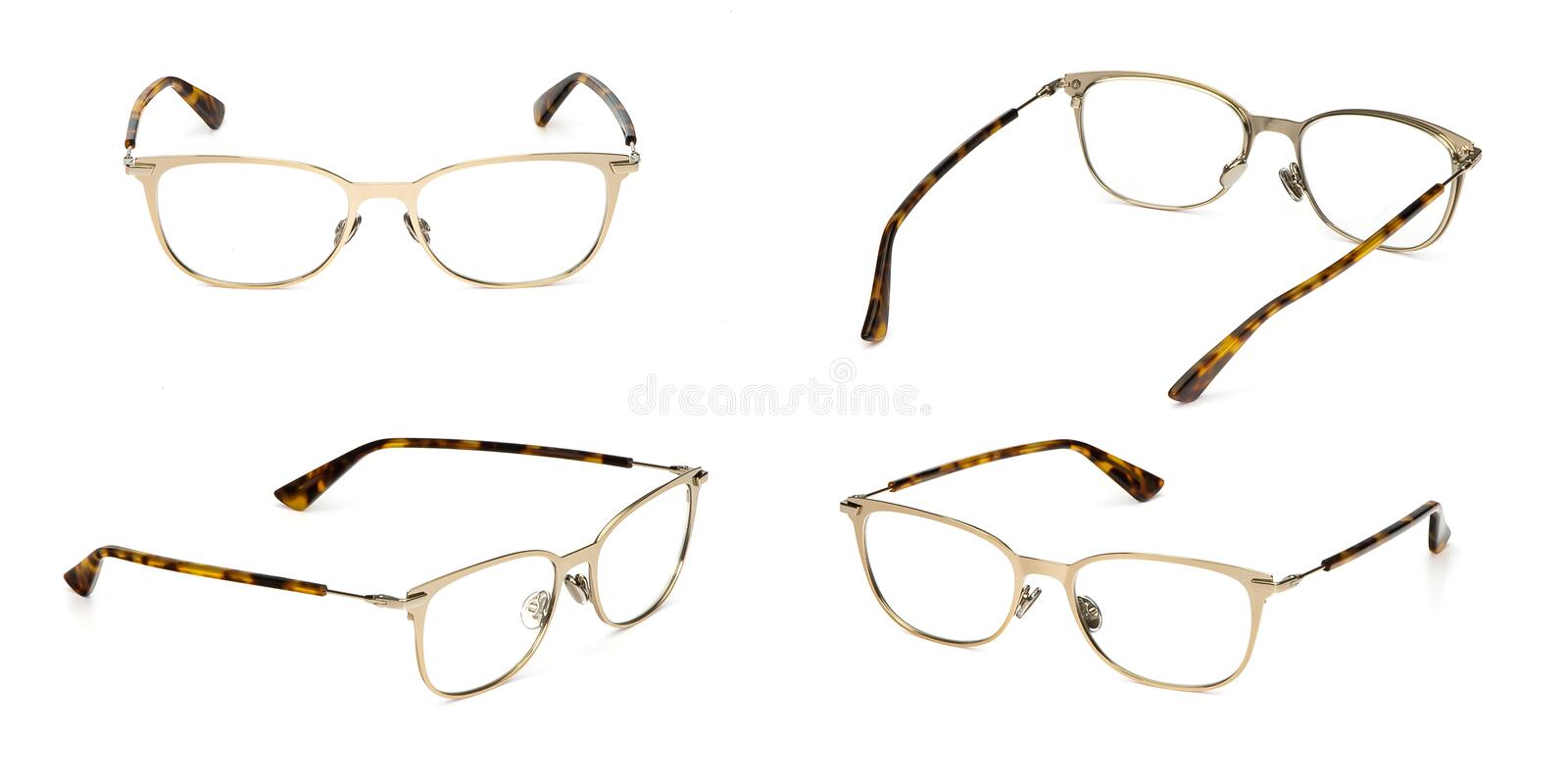 Set glasses metal material transparent isolated on white background. Collection fashion office eye glasses royalty free stock photo