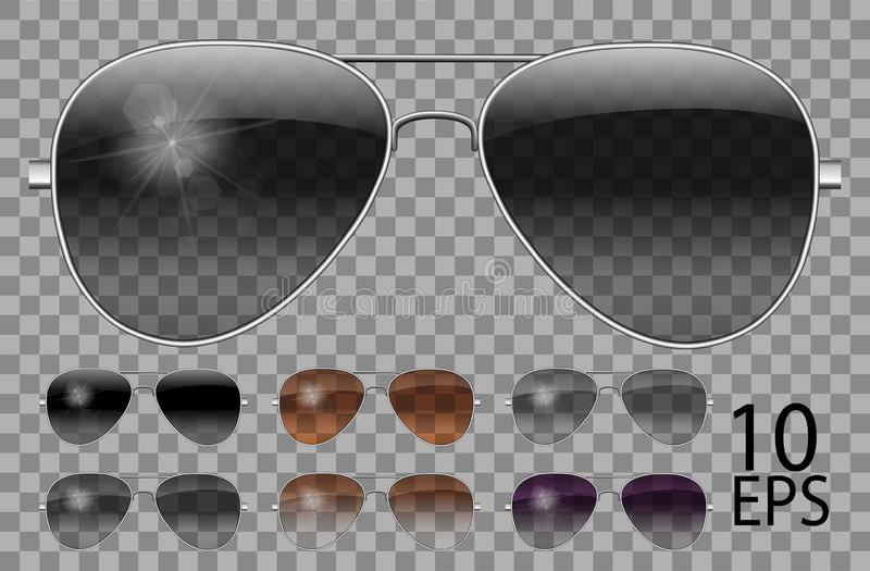 Set glasses.Police drops aviator shape.transparent different color black  brown purple.sunglasses.3d graphics.unisex  women men. Set glasses.Police drops aviator royalty free illustration