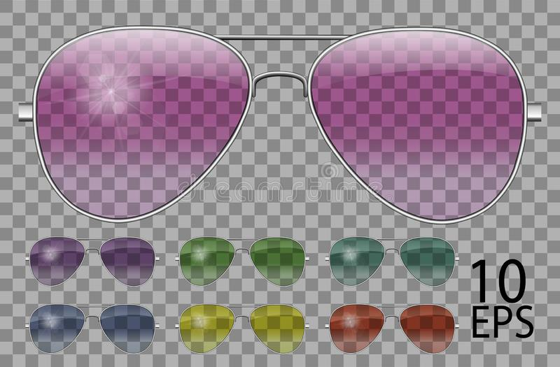 Set glasses.Police drops aviator shape.transparent different color.sunglasses.3d graphics.pink blue purple yellow  red  green. Unisex women  men vector illustration