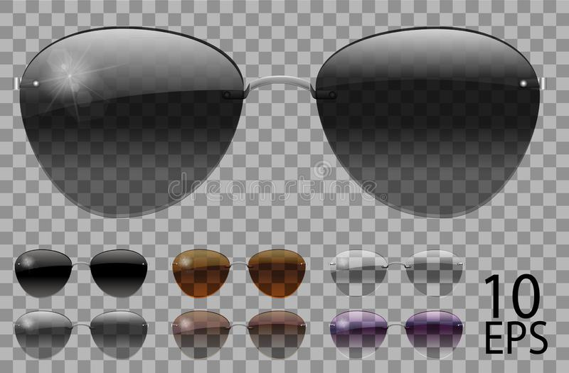 Set glasses.Police drops aviator shape.transparent different color.sunglasses.3d graphics.rainbow chameleon  pink  blue  purple. Yellow  red  green  orange royalty free illustration