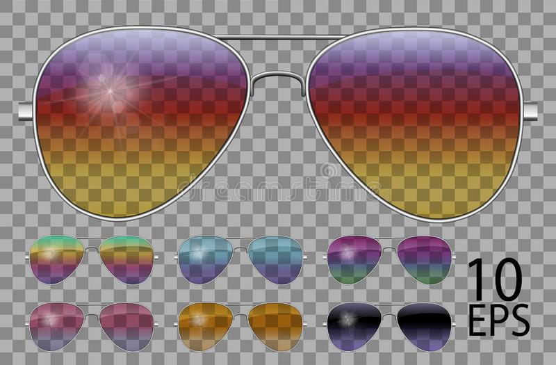 Set glasses.Police drops aviator shape.transparent different color.sunglasses.3d graphics.rainbow chameleon  pink  blue  purple. Yellow  red  green  orange vector illustration