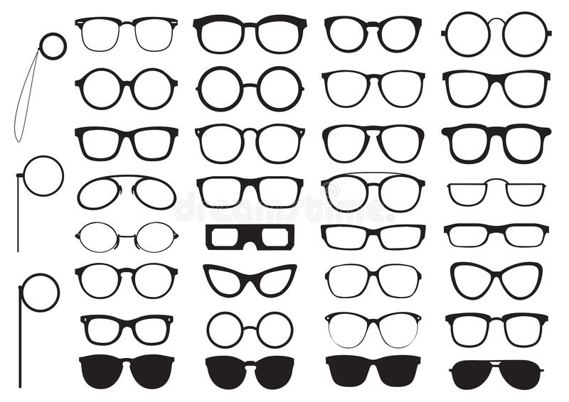 Set of glasses silhouettes vector illustration