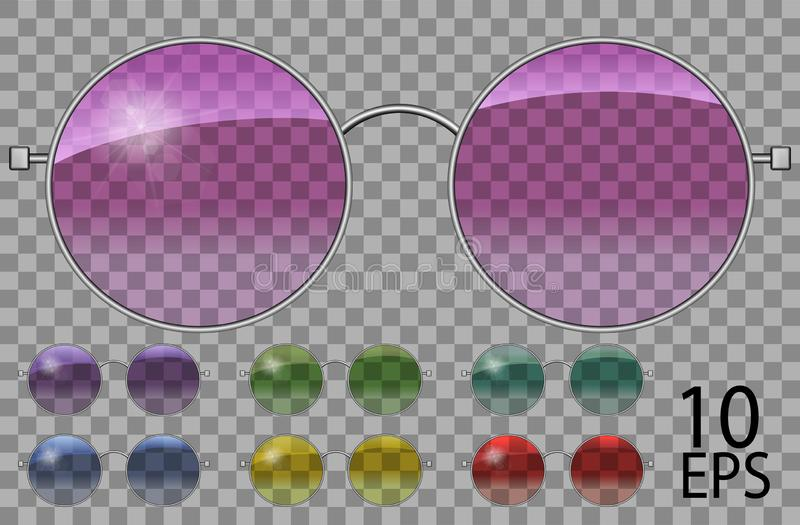 Set glasses.teashades round shape.transparent different color .pink blue purple yellow  red  green.sunglasses.3d graphics.unisex. Women men stock illustration